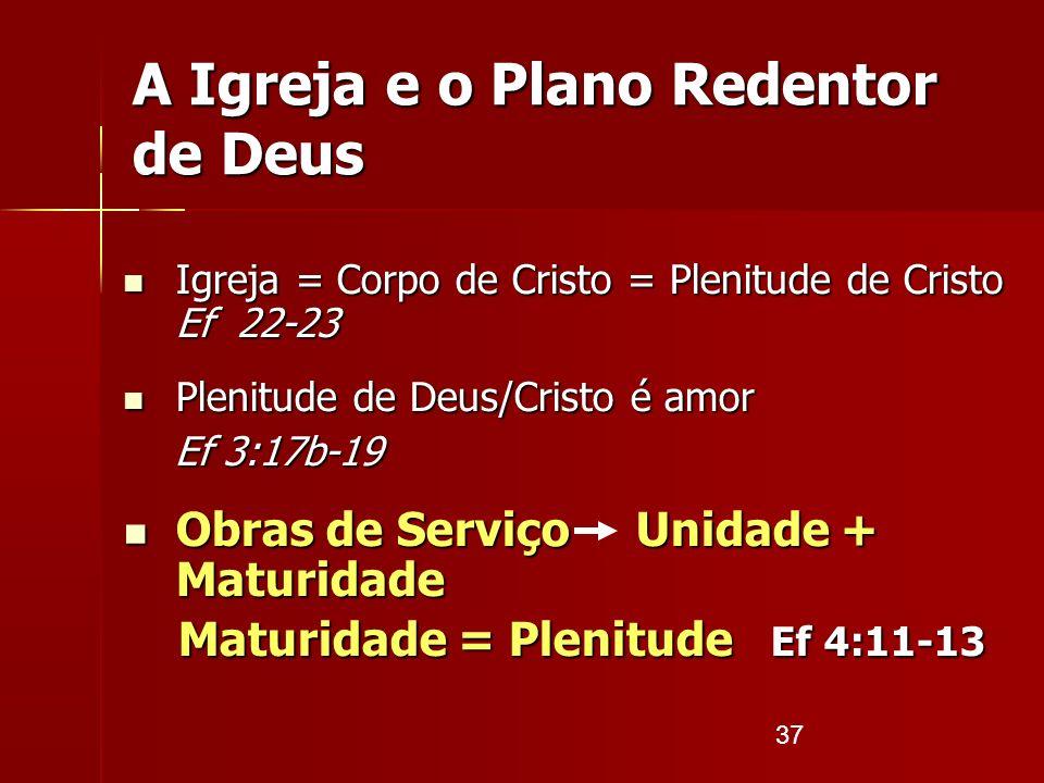 37 A Igreja e o Plano Redentor de Deus Igreja = Corpo de Cristo = Plenitude de Cristo Ef 22-23 Igreja = Corpo de Cristo = Plenitude de Cristo Ef 22-23