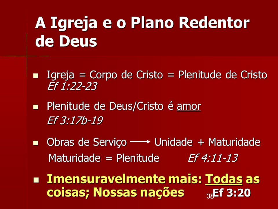 38 A Igreja e o Plano Redentor de Deus Igreja = Corpo de Cristo = Plenitude de Cristo Ef 1:22-23 Igreja = Corpo de Cristo = Plenitude de Cristo Ef 1:2