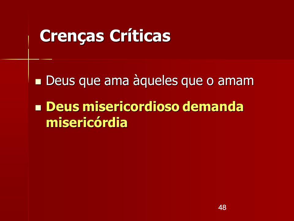 48 Crenças Críticas Deus que ama àqueles que o amam Deus que ama àqueles que o amam Deus misericordioso demanda misericórdia Deus misericordioso deman