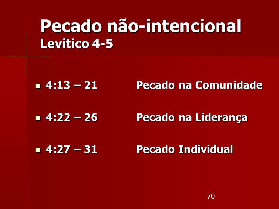 70 Pecado não-intencional Levítico 4-5 4:13 – 21 Pecado na Comunidade 4:13 – 21 Pecado na Comunidade 4:22 – 26 Pecado na Liderança 4:22 – 26 Pecado na