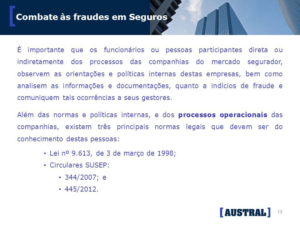 13 [ Combate às fraudes em Seguros É importante que os funcionários ou pessoas participantes direta ou indiretamente dos processos das companhias do m