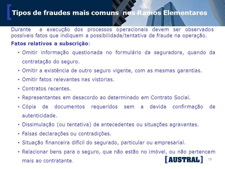 19 [ Tipos de fraudes mais comuns nos Ramos Elementares Fatos relativos a subscrição: Omitir informação questionada no formulário da seguradora, quand