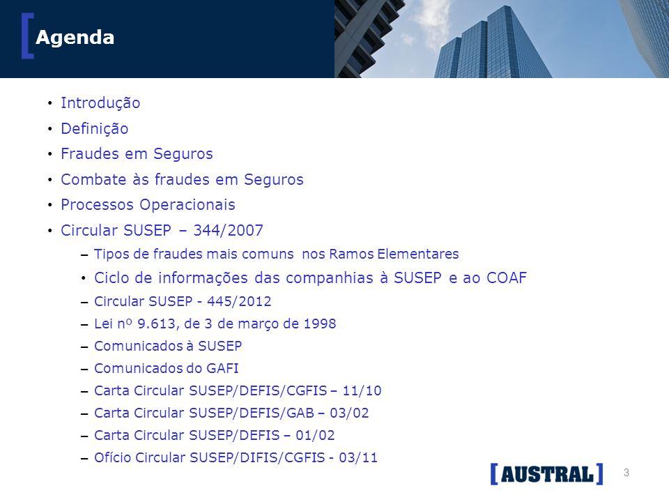3 [ Agenda Introdução Definição Fraudes em Seguros Combate às fraudes em Seguros Processos Operacionais Circular SUSEP – 344/2007 – Tipos de fraudes m