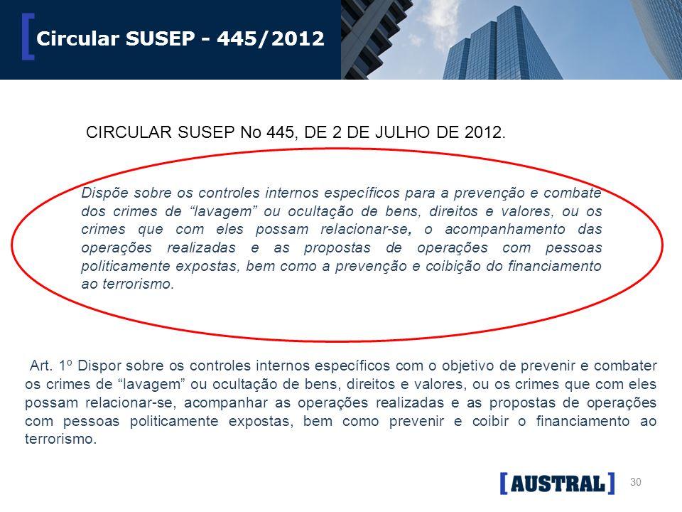 30 [ Circular SUSEP - 445/2012 CIRCULAR SUSEP No 445, DE 2 DE JULHO DE 2012. Dispõe sobre os controles internos específicos para a prevenção e combate