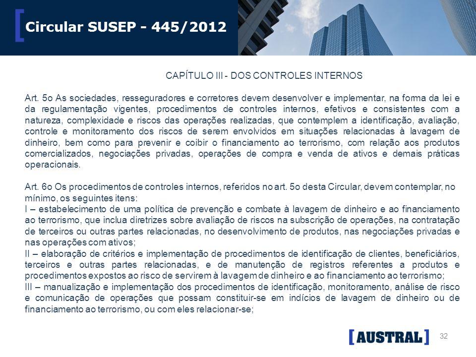 32 [ Circular SUSEP - 445/2012 CAPÍTULO III - DOS CONTROLES INTERNOS Art. 5o As sociedades, resseguradores e corretores devem desenvolver e implementa