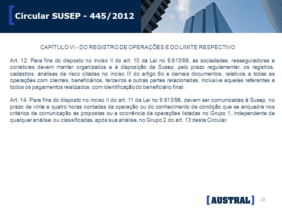 33 [ Circular SUSEP - 445/2012 CAPÍTULO VI - DO REGISTRO DE OPERAÇÕES E DO LIMITE RESPECTIVO Art. 12. Para fins do disposto no inciso II do art. 10 da