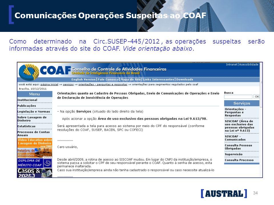34 [ Comunicações Operações Suspeitas ao COAF ComodeterminadonaCirc.SUSEP-445/2012, asoperaçõessuspeitasserão informadasatravésdositedoCOAF.Videorient