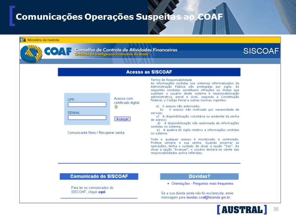 35 [ Comunicações Operações Suspeitas ao COAF