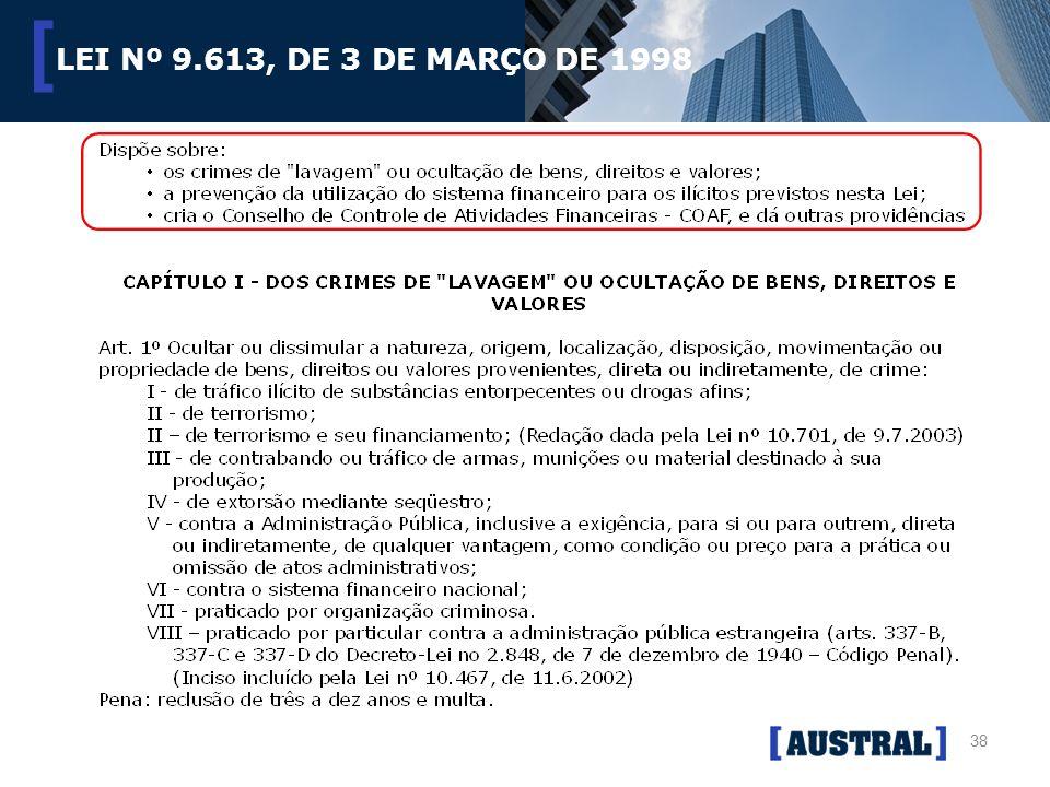 38 [ LEI Nº 9.613, DE 3 DE MARÇO DE 1998