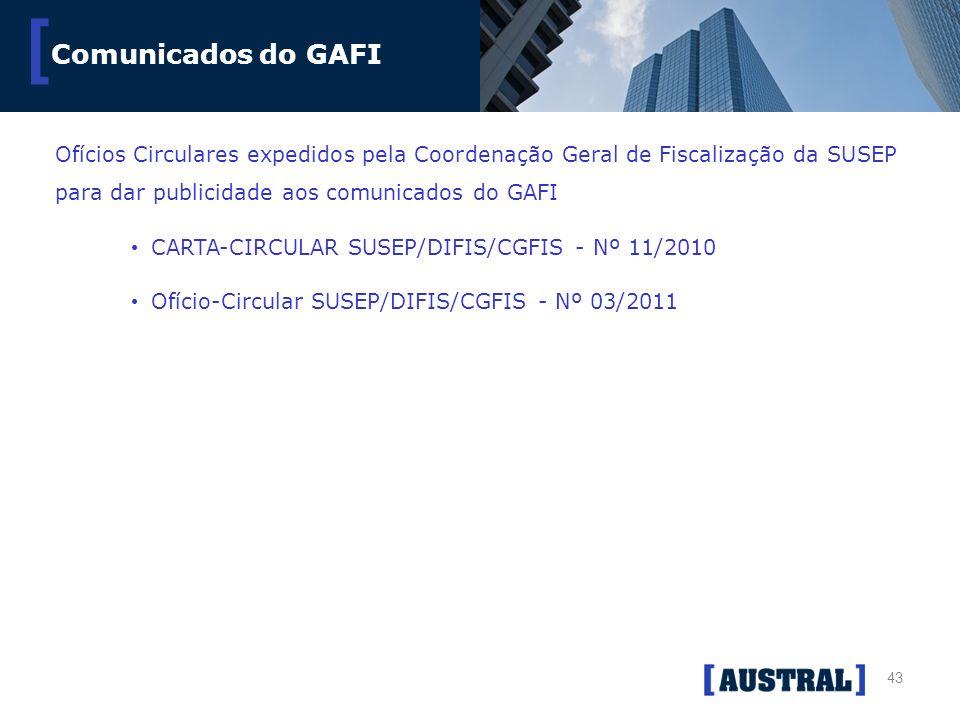 43 [ Comunicados do GAFI Ofícios Circulares expedidos pela Coordenação Geral de Fiscalização da SUSEP para dar publicidade aos comunicados do GAFI CAR