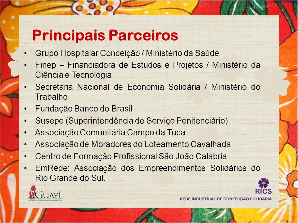 Principais Parceiros Grupo Hospitalar Conceição / Ministério da Saúde Finep – Financiadora de Estudos e Projetos / Ministério da Ciência e Tecnologia