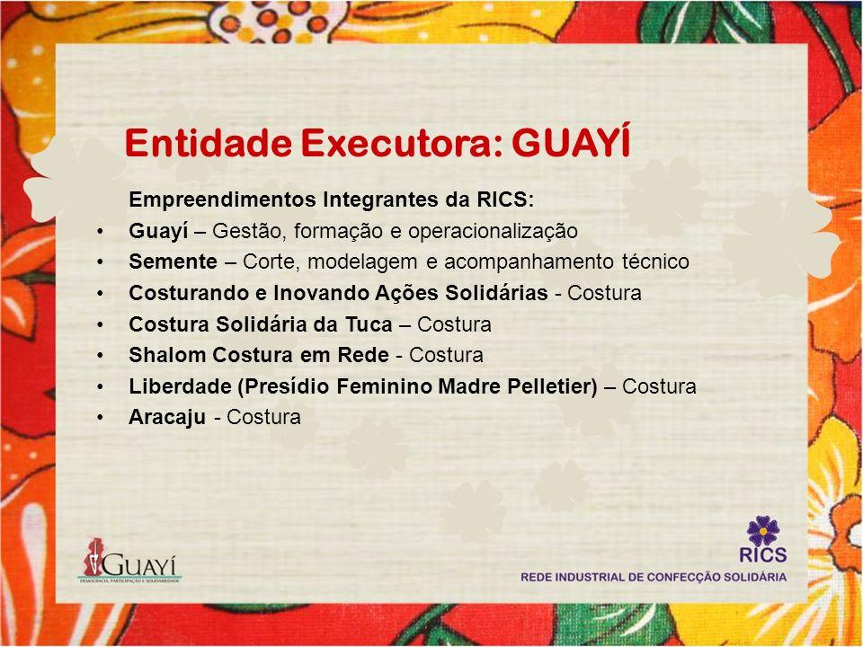 Entidade Executora: GUAYÍ Empreendimentos Integrantes da RICS: Guayí – Gestão, formação e operacionalização Semente – Corte, modelagem e acompanhament