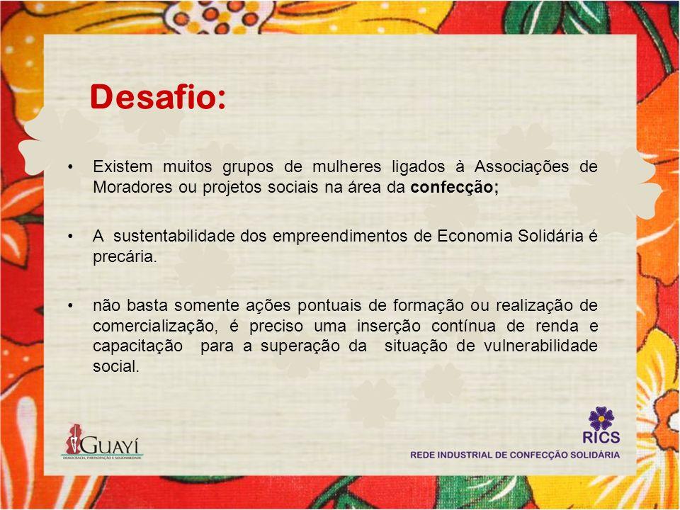 Desafio: Existem muitos grupos de mulheres ligados à Associações de Moradores ou projetos sociais na área da confecção; A sustentabilidade dos empreen