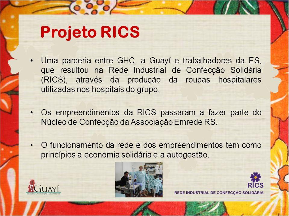 Projeto RICS Uma parceria entre GHC, a Guayí e trabalhadores da ES, que resultou na Rede Industrial de Confecção Solidária (RICS), através da produção