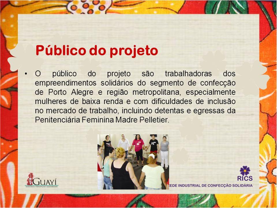 Público do projeto O público do projeto são trabalhadoras dos empreendimentos solidários do segmento de confecção de Porto Alegre e região metropolita