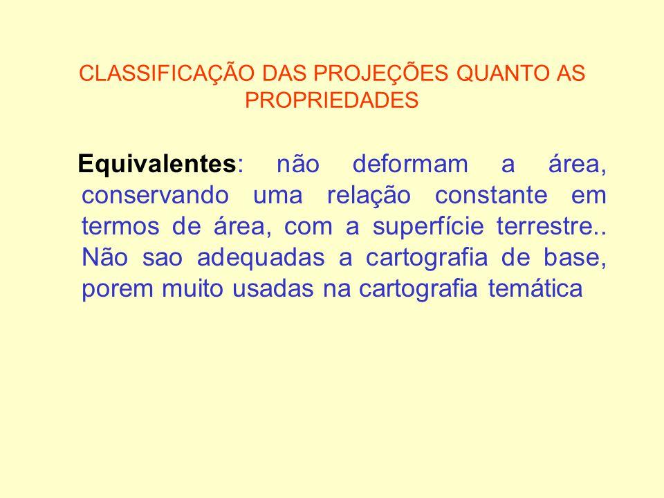 CLASSIFICAÇÃO DAS PROJEÇÕES QUANTO AS PROPRIEDADES Equivalentes: não deformam a área, conservando uma relação constante em termos de área, com a super