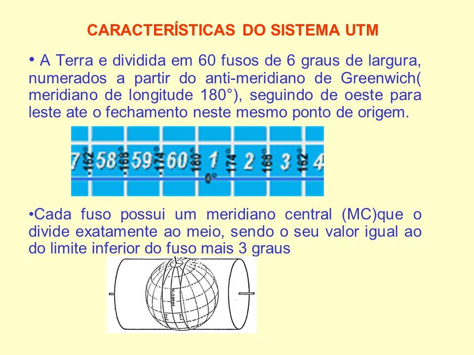 CARACTERÍSTICAS DO SISTEMA UTM A Terra e dividida em 60 fusos de 6 graus de largura, numerados a partir do anti-meridiano de Greenwich( meridiano de l