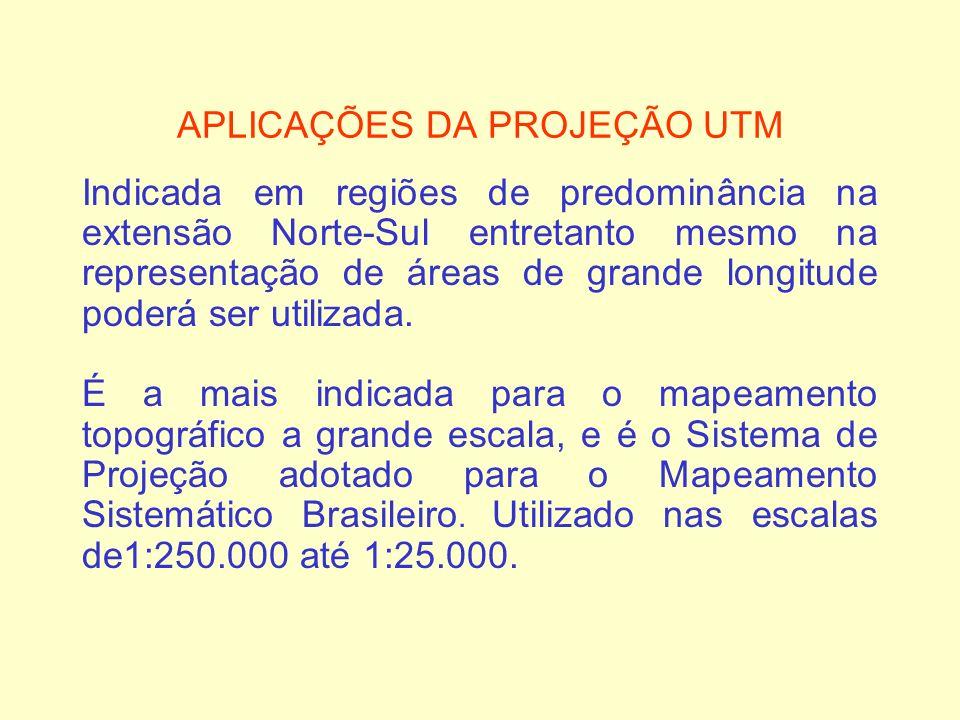 APLICAÇÕES DA PROJEÇÃO UTM Indicada em regiões de predominância na extensão Norte-Sul entretanto mesmo na representação de áreas de grande longitude p