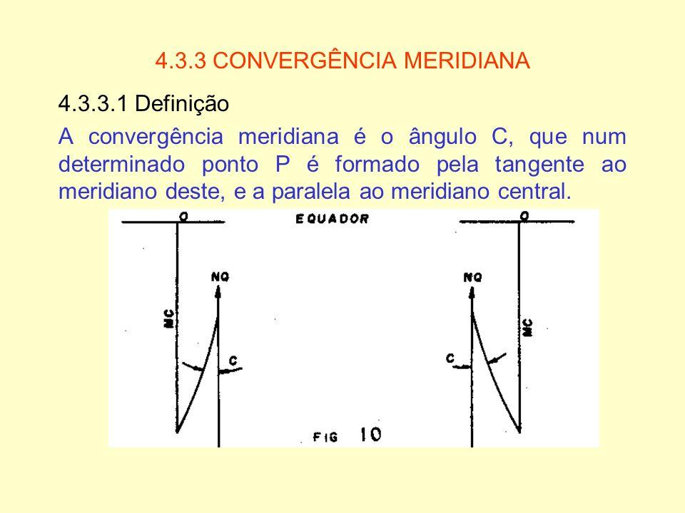 4.3.3 CONVERGÊNCIA MERIDIANA 4.3.3.1 Definição A convergência meridiana é o ângulo C, que num determinado ponto P é formado pela tangente ao meridiano