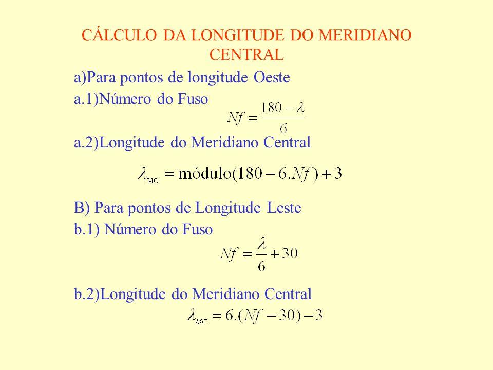 CÁLCULO DA LONGITUDE DO MERIDIANO CENTRAL a)Para pontos de longitude Oeste a.1)Número do Fuso a.2)Longitude do Meridiano Central B) Para pontos de Lon