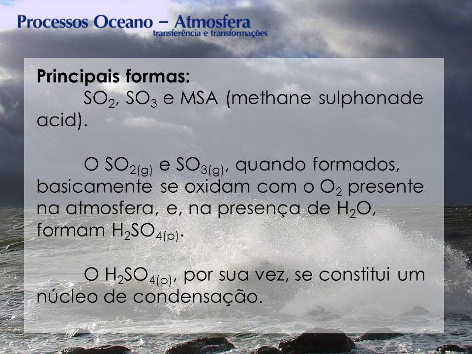 Principais formas: SO 2, SO 3 e MSA (methane sulphonade acid). O SO 2(g) e SO 3(g), quando formados, basicamente se oxidam com o O 2 presente na atmos
