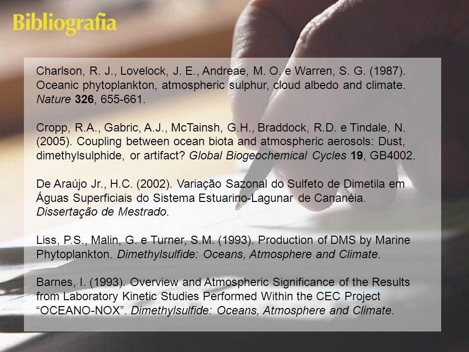 Charlson, R. J., Lovelock, J. E., Andreae, M. O. e Warren, S. G. (1987). Oceanic phytoplankton, atmospheric sulphur, cloud albedo and climate. Nature