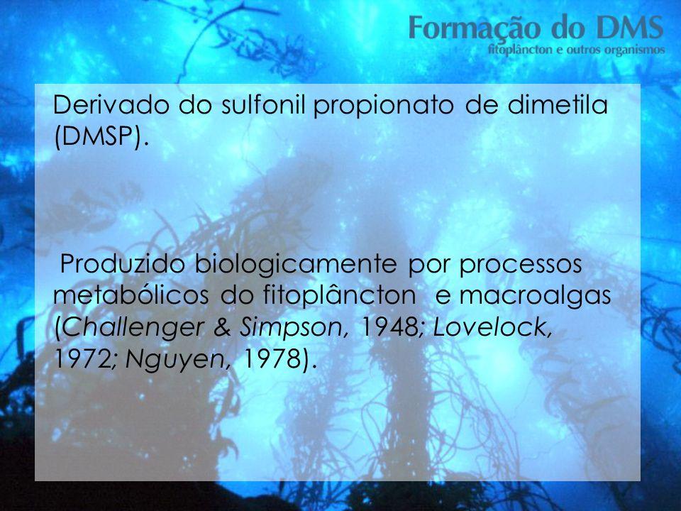 Derivado do sulfonil propionato de dimetila (DMSP). Produzido biologicamente por processos metabólicos do fitoplâncton e macroalgas (Challenger & Simp