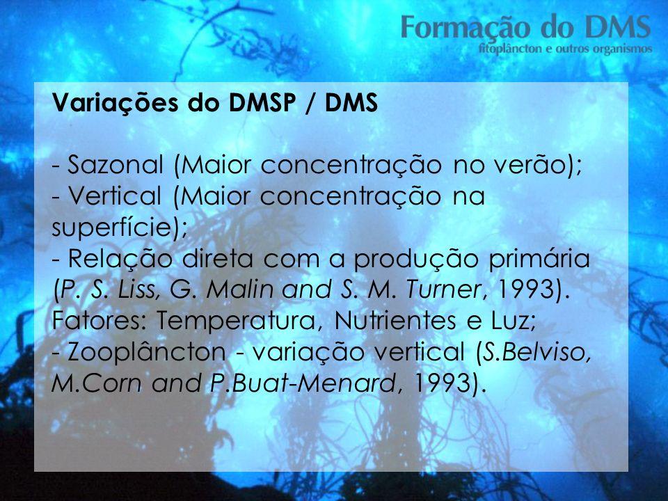 Variações do DMSP / DMS - Sazonal (Maior concentração no verão); - Vertical (Maior concentração na superfície); - Relação direta com a produção primár