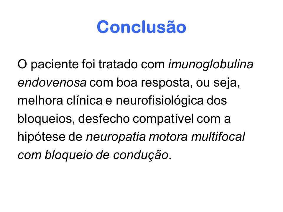 Conclusão O paciente foi tratado com imunoglobulina endovenosa com boa resposta, ou seja, melhora clínica e neurofisiológica dos bloqueios, desfecho c