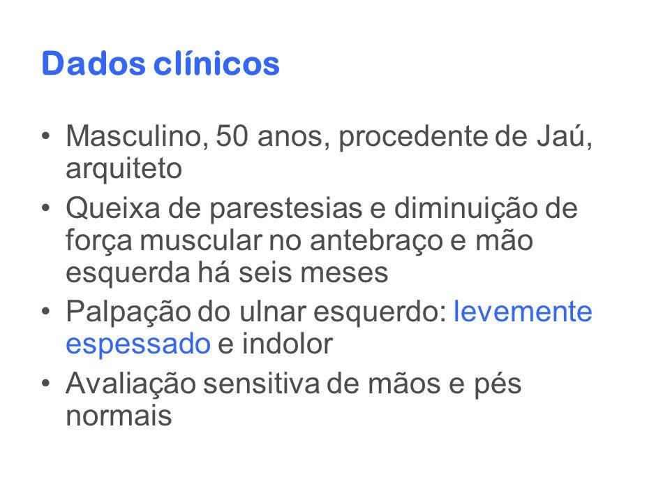 Dados clínicos Masculino, 50 anos, procedente de Jaú, arquiteto Queixa de parestesias e diminuição de força muscular no antebraço e mão esquerda há se