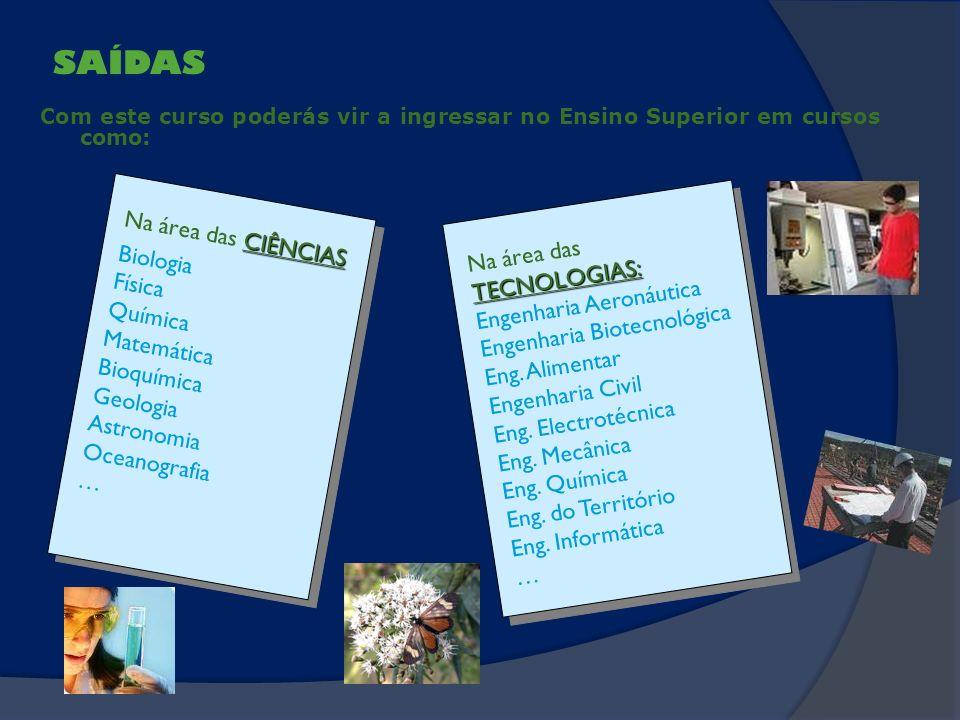 SAÍDAS Com este curso poderás vir a ingressar no Ensino Superior em cursos como: TECNOLOGIAS: Na área dasTECNOLOGIAS:Engenharia AeronáuticaEngenharia