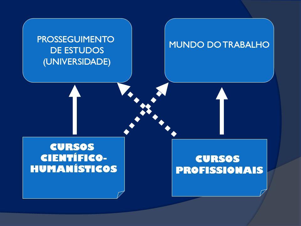 PROSSEGUIMENTO DE ESTUDOS (UNIVERSIDADE) CURSOS CIENTÍFICO- HUMANÍSTICOS MUNDO DO TRABALHO CURSOS PROFISSIONAIS