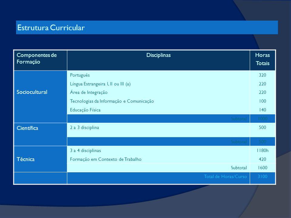 Estrutura Curricular Componentes de Formação DisciplinasHoras Totais Sociocultural Português320 Língua Estrangeira I, II ou III (a)220 Área de Integra