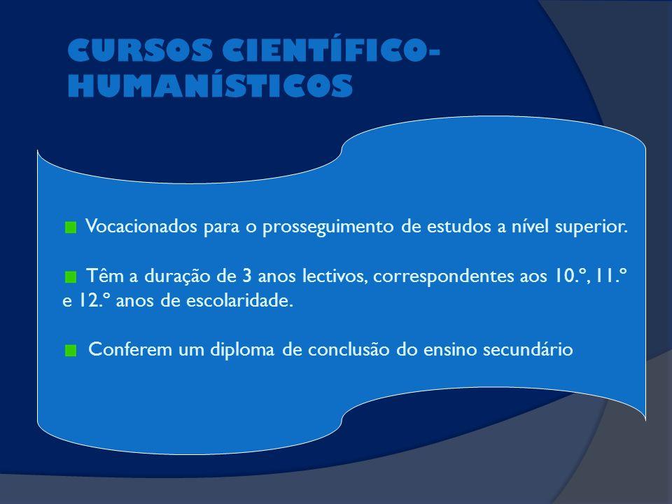 CURSOS CIENTÍFICO- HUMANÍSTICOS Vocacionados para o prosseguimento de estudos a nível superior. Têm a duração de 3 anos lectivos, correspondentes aos