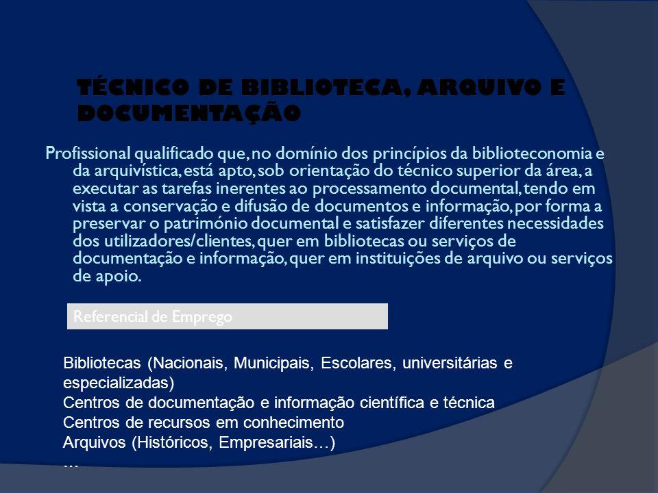 Profissional qualificado que, no domínio dos princípios da biblioteconomia e da arquivística, está apto, sob orientação do técnico superior da área, a