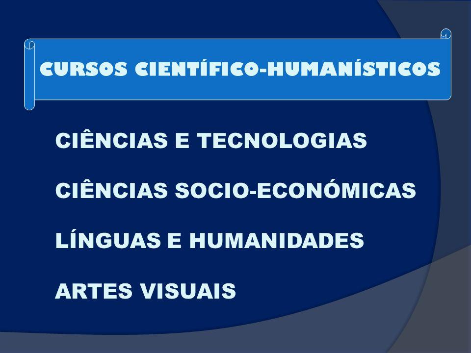 CIÊNCIAS E TECNOLOGIAS CIÊNCIAS SOCIO-ECONÓMICAS LÍNGUAS E HUMANIDADES ARTES VISUAIS CURSOS CIENTÍFICO-HUMANÍSTICOS