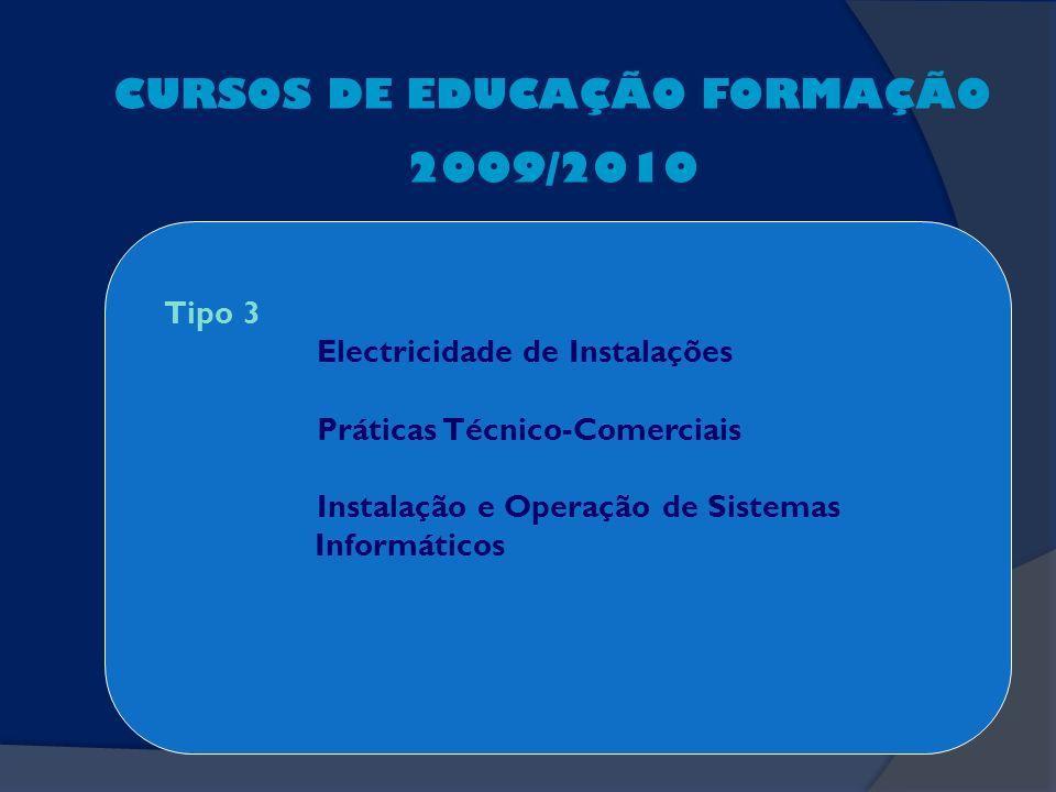 CURSOS DE EDUCAÇÃO FORMAÇÃO 2009/2010 Tipo 3 Electricidade de Instalações Práticas Técnico-Comerciais Instalação e Operação de Sistemas Informáticos