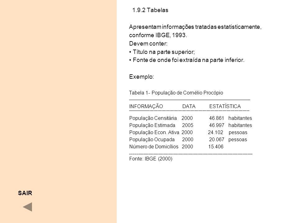 1.9.2 Tabelas Apresentam informações tratadas estatisticamente, conforme IBGE, 1993. Devem conter: Título na parte superior; Fonte de onde foi extraíd