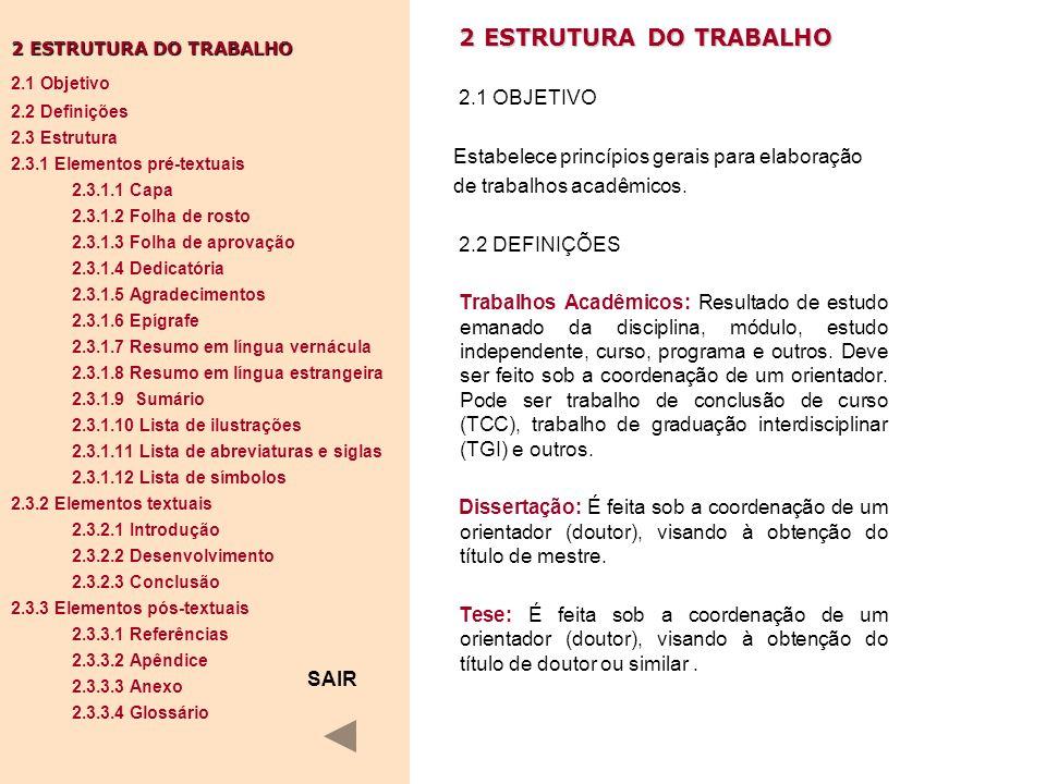 2 ESTRUTURA DO TRABALHO 2.1 OBJETIVO Estabelece princípios gerais para elaboração de trabalhos acadêmicos. 2.2 DEFINIÇÕES Trabalhos Acadêmicos: Result