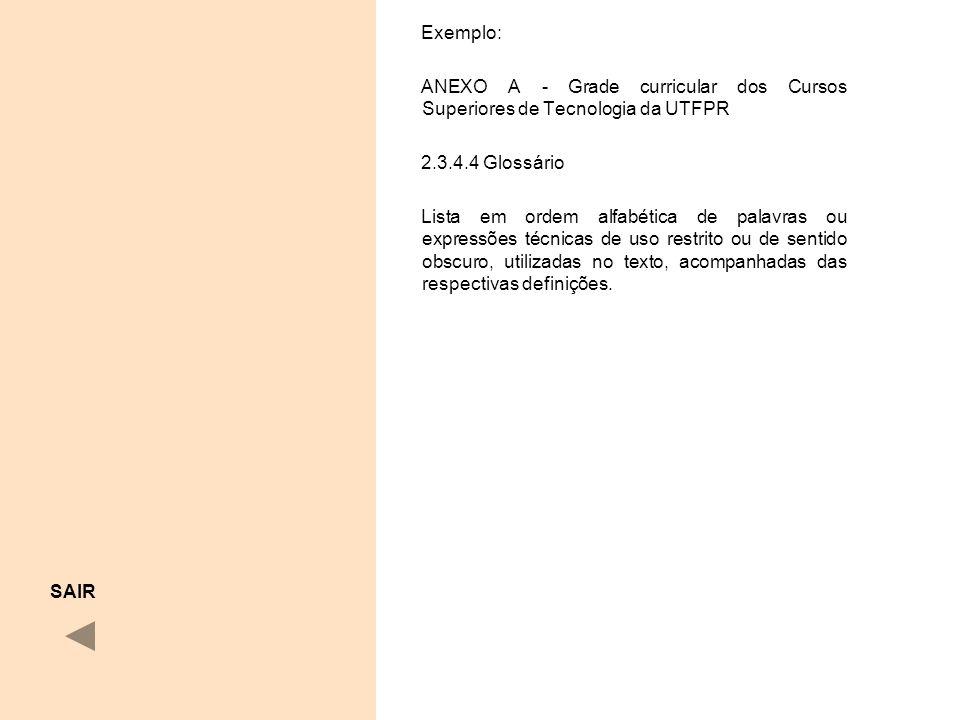 Exemplo: ANEXO A - Grade curricular dos Cursos Superiores de Tecnologia da UTFPR 2.3.4.4 Glossário Lista em ordem alfabética de palavras ou expressões