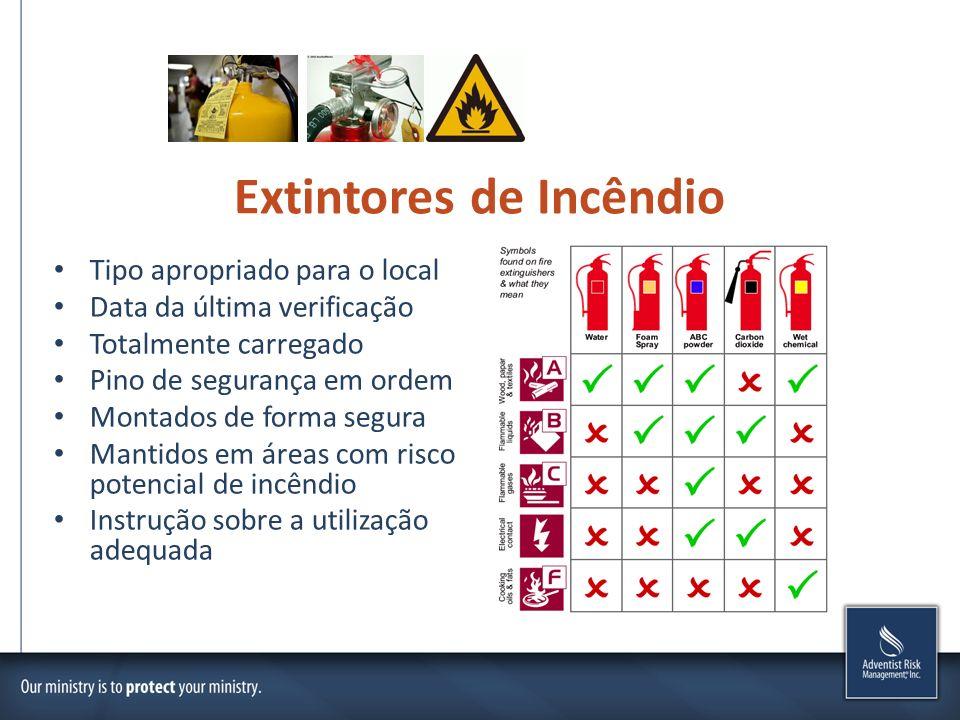 Extintores de Incêndio Tipo apropriado para o local Data da última verificação Totalmente carregado Pino de segurança em ordem Montados de forma segur