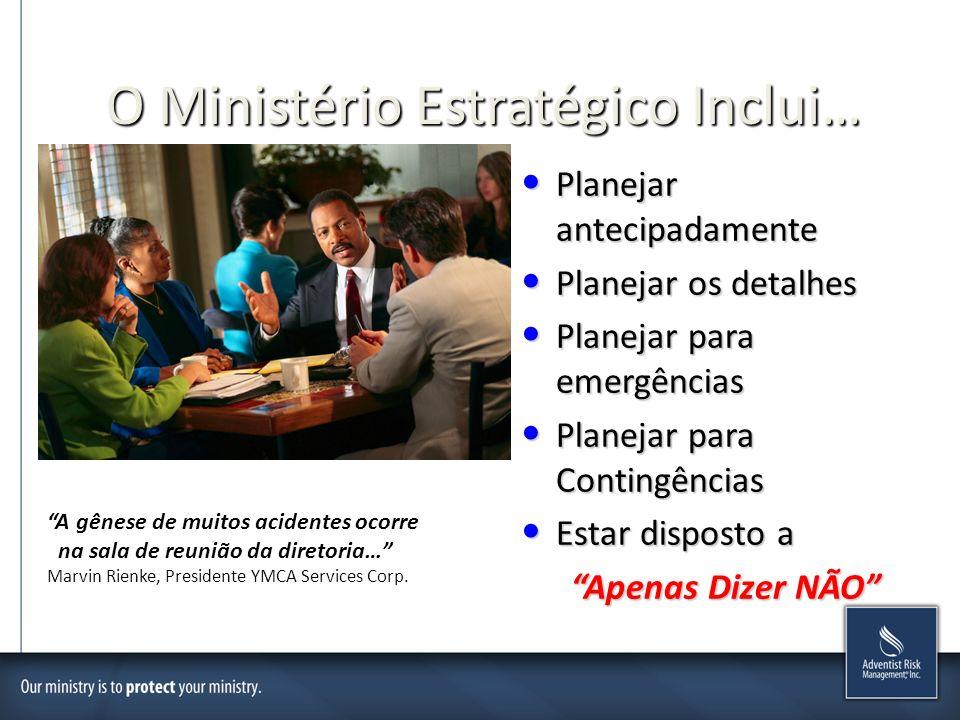 O Ministério Estratégico Inclui… Planejar antecipadamente Planejar antecipadamente Planejar os detalhes Planejar os detalhes Planejar para emergências