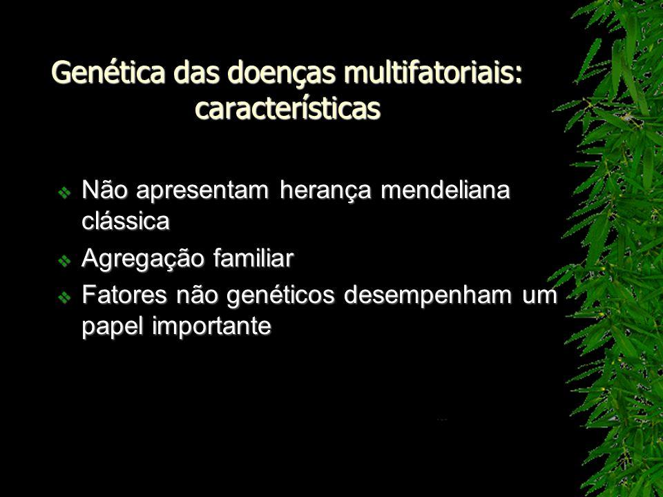 Genética das doenças multifatoriais: características Não apresentam herança mendeliana clássica Não apresentam herança mendeliana clássica Agregação f