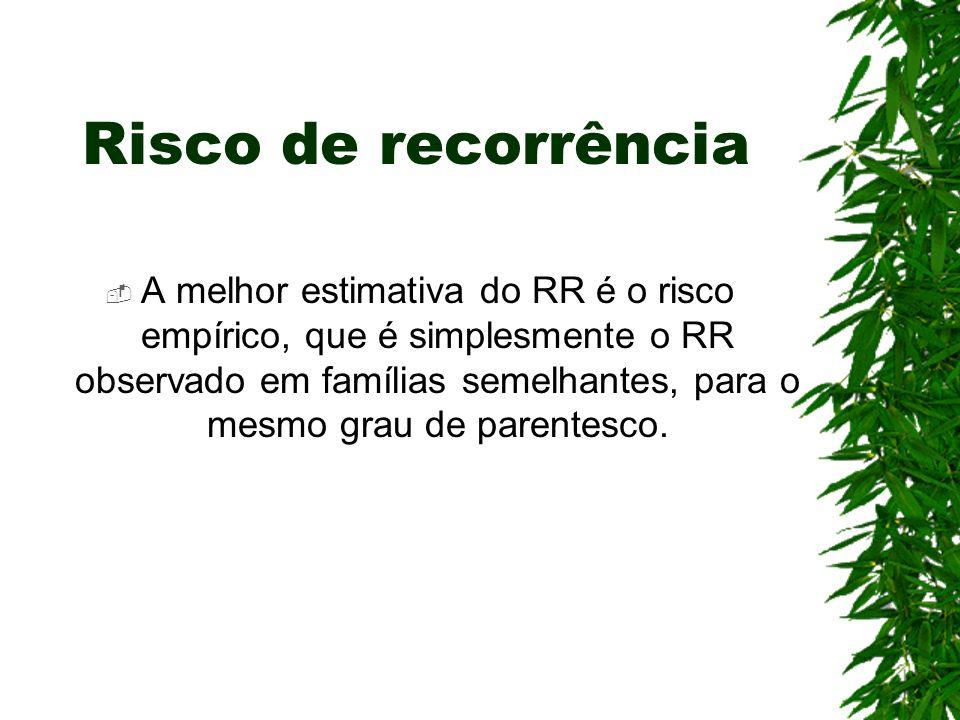 Risco de recorrência A melhor estimativa do RR é o risco empírico, que é simplesmente o RR observado em famílias semelhantes, para o mesmo grau de par