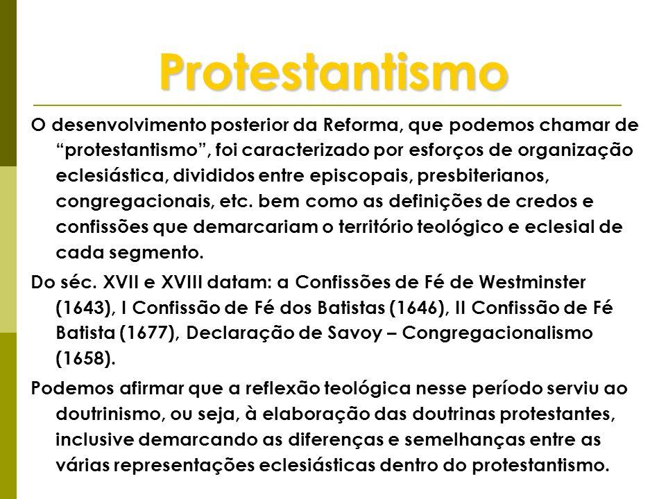 Protestantismo O desenvolvimento posterior da Reforma, que podemos chamar de protestantismo, foi caracterizado por esforços de organização eclesiástic