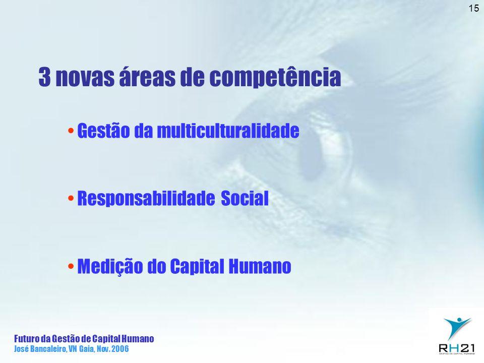 Futuro da Gestão de Capital Humano José Bancaleiro, VN Gaia, Nov. 2006 15 3 novas áreas de competência Gestão da multiculturalidade Responsabilidade S