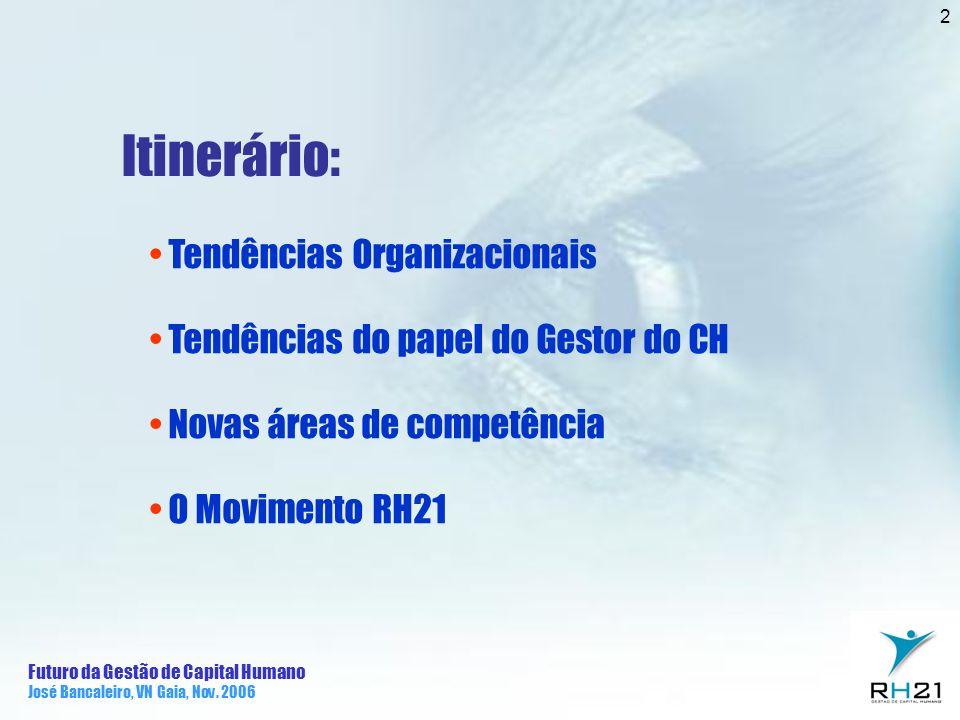 Futuro da Gestão de Capital Humano José Bancaleiro, VN Gaia, Nov. 2006 2 Itinerário: Tendências Organizacionais Tendências do papel do Gestor do CH No