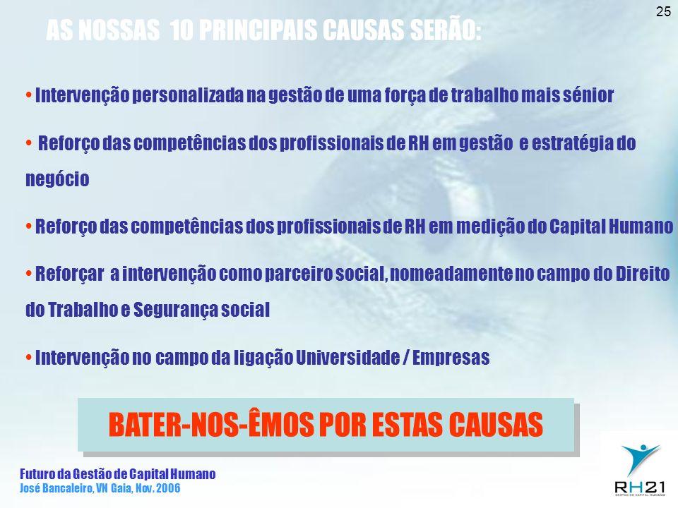 Futuro da Gestão de Capital Humano José Bancaleiro, VN Gaia, Nov. 2006 25 AS NOSSAS 10 PRINCIPAIS CAUSAS SERÃO: Intervenção personalizada na gestão de