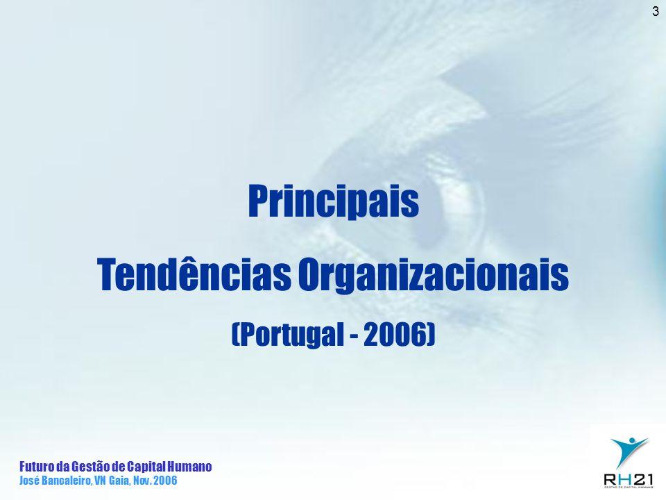Futuro da Gestão de Capital Humano José Bancaleiro, VN Gaia, Nov. 2006 3 Principais Tendências Organizacionais (Portugal - 2006)
