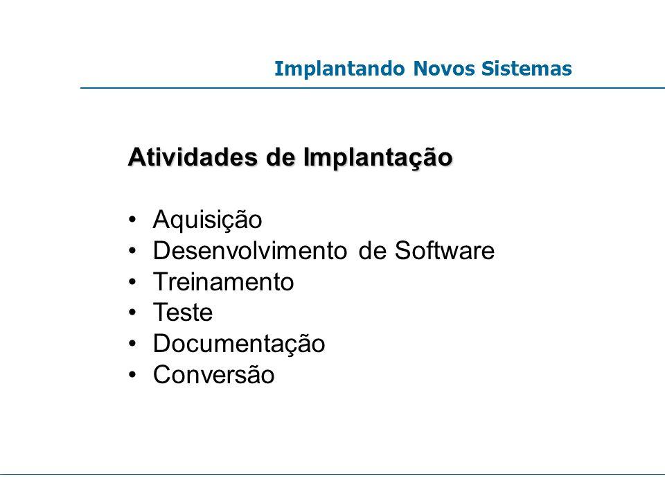 Atividades de Implantação Aquisição Desenvolvimento de Software Treinamento Teste Documentação Conversão Implantando Novos Sistemas